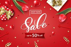 Valentine`s Day sale web banner. Top view on composition. With gift box, red tulips, confetti,red sparkly hearts. Vector template Royalty Free Stock Photos