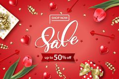 Valentine`s Day sale web banner. Top view on composition. With gift box, red tulips, confetti,red sparkly hearts. Vector template Royalty Free Stock Photo