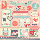 Valentine`s Day scrapbook set. Decorative elements. Vector illustration Stock Photos