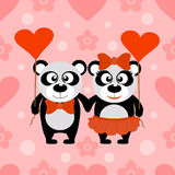 Valentine's day seamless background with pandas vector illustration