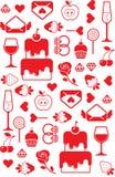 Valentine's day seamless background. With symbols of romance stock illustration