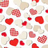 Valentine`s day seamless background with textured hearts. Stock Photos