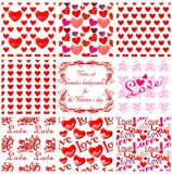 Valentine's day seamless backgrounds. Vector. Vector set seamless backgrounds for the Valentine's day Stock Images