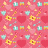 Valentine`s day seamless pattern. Background of hearts, diamonds, love notes, grocery, gift, key, an arrow of Cupid. Can be used for wallpaper, web page Royalty Free Stock Photo