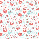 Valentine`s day seamless pattern. Envelope with hearts, stamps and hearts, love postcard with letters. Flying envelope vector illustration