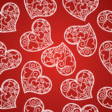 Valentine's day seamless pattern with fishnet hearts Royalty Free Stock Photos