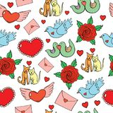 Valentine`s Day seamless pattern with hearts, birds, cats, roses Royalty Free Stock Photos