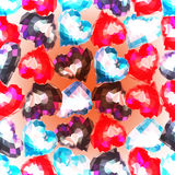 Valentine`s day seamless pattern with polygonal hearts colors. Royalty Free Stock Images