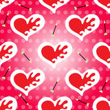 Valentine's Day seamless pattern vector heart and arrow Royalty Free Stock Photos