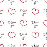 Valentine`s Day seamless pattern. Web background with hearts and words `I love you`. Vector Royalty Free Stock Photo