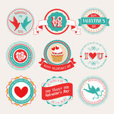 Valentine`s Day set. Labels and emblems. Vector illustration Stock Photography