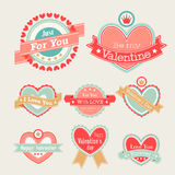 Valentine`s Day set. Labels and emblems. Vector illustration Royalty Free Stock Photo