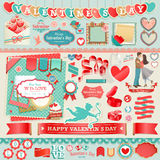 Valentine`s Day set. Vintage design elements and ribbons Stock Images