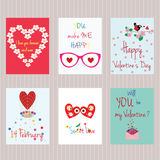 Valentine`s day. Set of cards. Happy Valentine`s day. Set of cards. Love elements and inscriptions. Vector design templates for greeting / gift cards, flyers Stock Photos