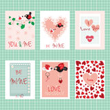 Valentine`s day. Set of cards. Happy Valentine`s day. Set of cards. Love inscriptions and elements. Vector design templates for greeting / gift cards, flyers Stock Photo