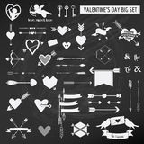 Valentine's Day Set. On chalk boarder - Hearts, Arrows, Keys, Cupids, Labels - in vector Stock Images