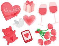 Valentine's Day Set. With Chocolates, Wine, Flowers, Teddy Bear and Love Text Message Stock Photo