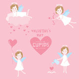 Valentine's Day Set. Cupid Angels with Hearts - in vector Royalty Free Stock Images