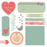 Valentine's Day set of design elements. Seamless pattern, gift tags, ribbons, arrows, valentines. Vector illustration Royalty Free Stock Images