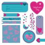 Valentine's Day set of design elements. Vector illustration Stock Photos