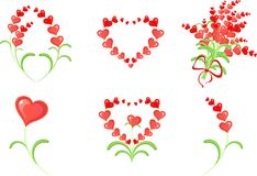 Valentine's Day set. With flowers, decorated of red hearts Stock Photo