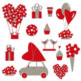 Valentine`s Day set.  Vector illustration. Valentine`s Day set with flowers, hearts, balloons and gifts.  Vector illustration Stock Image