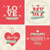 Valentine`s day set - four cards.  Vector liistration. Stock Photography