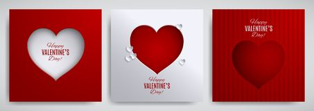 Valentine`s day set. Greeting card, poster, flyer, banner design collection. Cutted paper heart on striped satin background. Valentine`s day set. Greeting card stock illustration