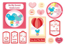 Valentine`s day set of greeting cards,stickers and gift tags. With hearts and cute blue koala`s Royalty Free Stock Photos
