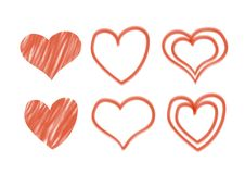 Valentine`s day set with hand - drawn hearts. Vector illustration royalty free illustration