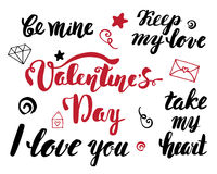 Valentine's Day. A set of hand lettering phrases. Valentine's Day calligraphy.  Stock Photo