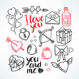 Valentine's Day set. Heart, gifts, sweets. hand-drawn illustration Stock Image