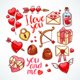 Valentine's Day set. Heart, gifts, sweets. hand-drawn illustration Royalty Free Stock Images