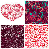 Valentine's Day set. (heart silhouette cover illustration and 3 complementary  seamless patterns Stock Images