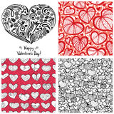 Valentine's Day set. (heart silhouette cover illustration and 3 complementary  seamless patterns Royalty Free Stock Photo