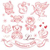 Valentine's Day. A set of high-quality vector clip-art on the theme of Valentine's Day Royalty Free Stock Photography