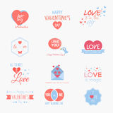 Valentine`s day set. Labels, badges, emblems and other decorative elements. Vector Stock Photo