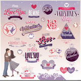 Valentine`s day set. Labels, emblems and other decorative elements Royalty Free Stock Photo