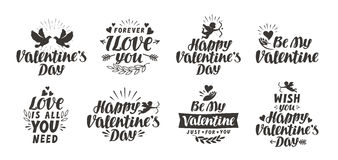 Valentine`s day set labels, icons and decorative elements. Vector illustration Stock Image