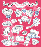 Valentine's Day set with love theme stickers Royalty Free Stock Photos