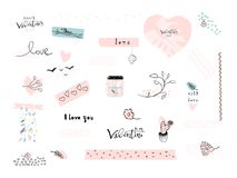 Valentine s Day Set. Of Lovely Abstract Hand Drawn decorative elements. Trendy doodle creative items design for greeting cards, stickers, posters, invitations Stock Image