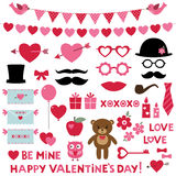 Valentine`s day set photo booth props and design elements Royalty Free Stock Photo