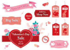 Valentine`s Day set of sale banners and price tags. With roses and heart shapes,pink and red design Stock Image