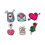 Valentine's day set of six hand drawn cute icons isolated on white background Royalty Free Stock Images