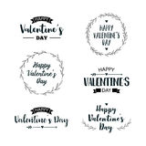 Valentine`s Day set of symbols. Illustrations and typography elements with lettering design. Set of typographic Valentines label designs Royalty Free Stock Images