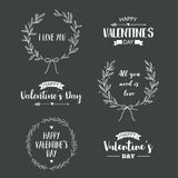 Valentine`s Day set of symbols. Illustrations and typography elements with lettering design. Set of typographic Valentines label designs Royalty Free Stock Photo
