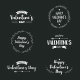 Valentine`s Day set of symbols. Illustrations and typography elements with lettering design. Set of typographic Valentines label designs Royalty Free Stock Photography