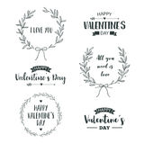 Valentine`s Day set of symbols. Illustrations and typography elements with lettering design. Set of typographic Valentines label designs Stock Photo