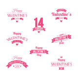 Valentine`s Day set of symbols. Valentine`s day illustrations and typography elements with retro vintage styled design. Vector set of typographic Valentines Stock Image