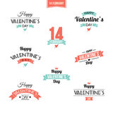 Valentine`s Day set of symbols. Valentine`s day illustrations and typography elements with retro vintage styled design. Vector set of typographic Valentines Stock Photo